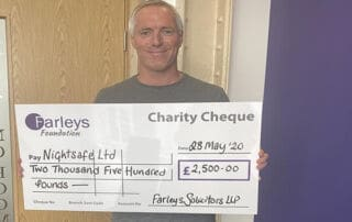 Farleys Solicitors Kickstart Nightsafe's Fundraising Appeal with £2,500 Donation